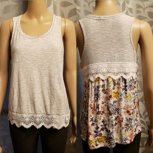 Floral and Striped Tank Top